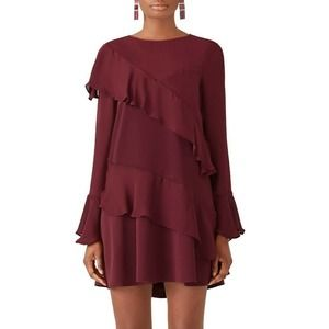 Parker Wine Evony Combo Dress M Asymmetric Ruffle